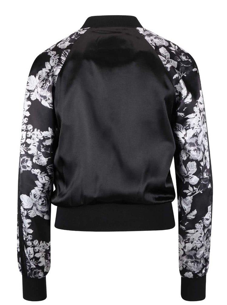Jachetă bomber neagră TALLY WEiJL cu imprimeu floral