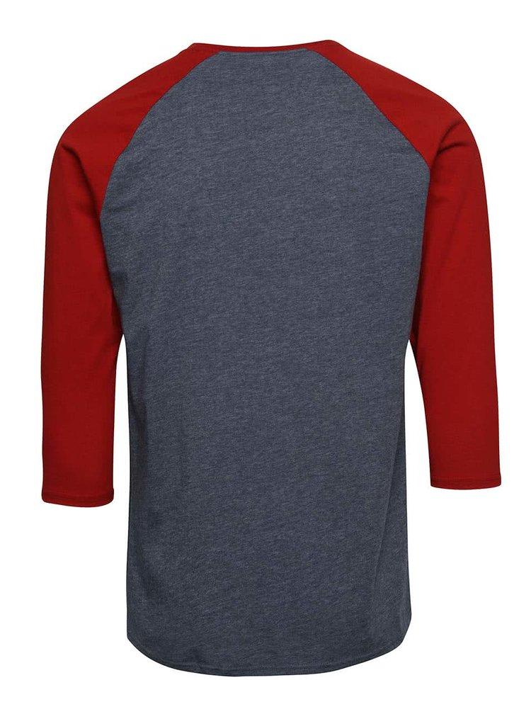 Vínovo-modré žíhané pánske tričko s 3/4 rukávmi Vans Raglan