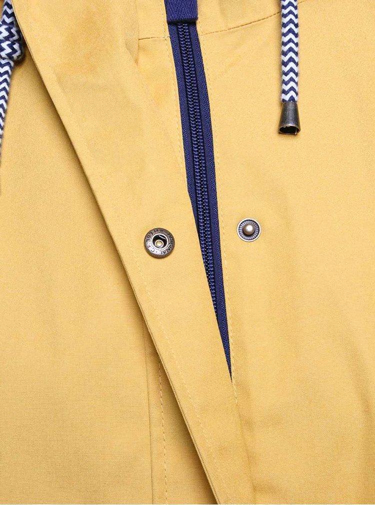 Horčicová dámska nepremokavá bunda s kapucňou Tom Joule Coast