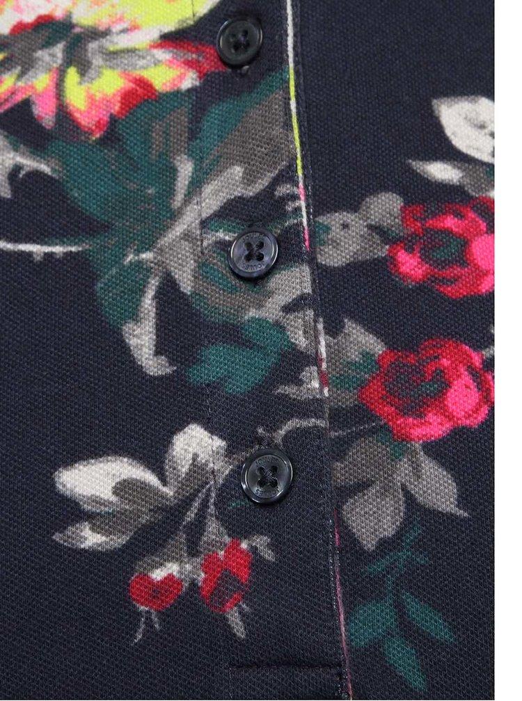 Tricou polo bleumarin Tom Joule Trinity cu imprimeu floral