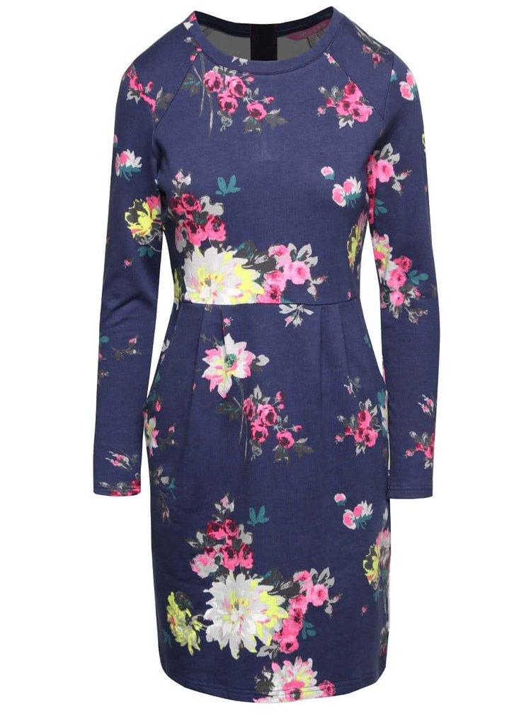 Tmavomodré kvetované mikinové šaty s vreckami Tom Joule