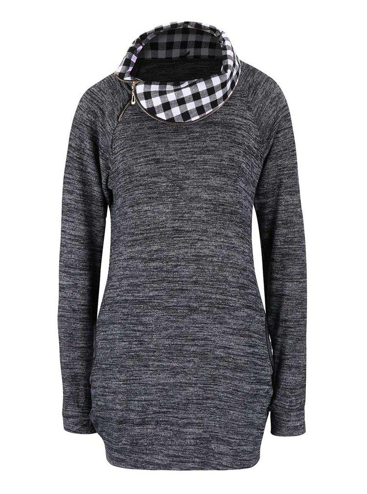 Tmavě šedé žíhané dlouhé tričko Madonna