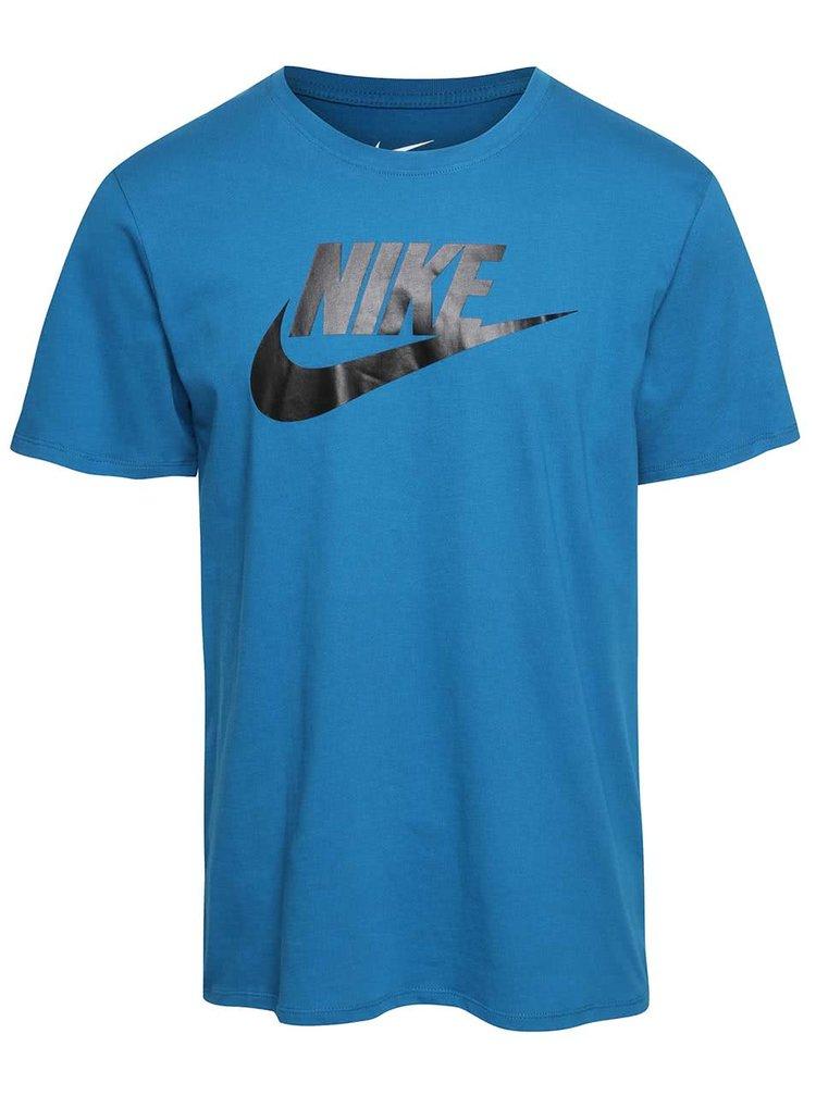 Tricou albastru cu logo Nike Futura Icon din bumbac