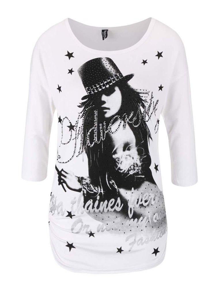 Bílé tričko s potiskem Madonna