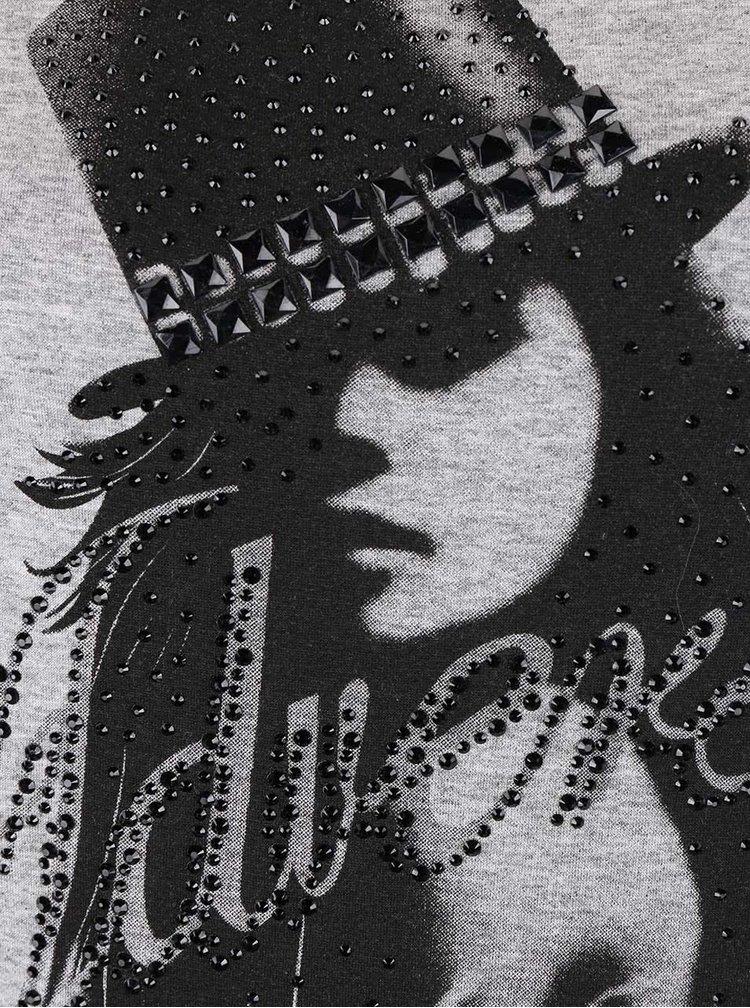 Šedé tričko s potiskem Madonna