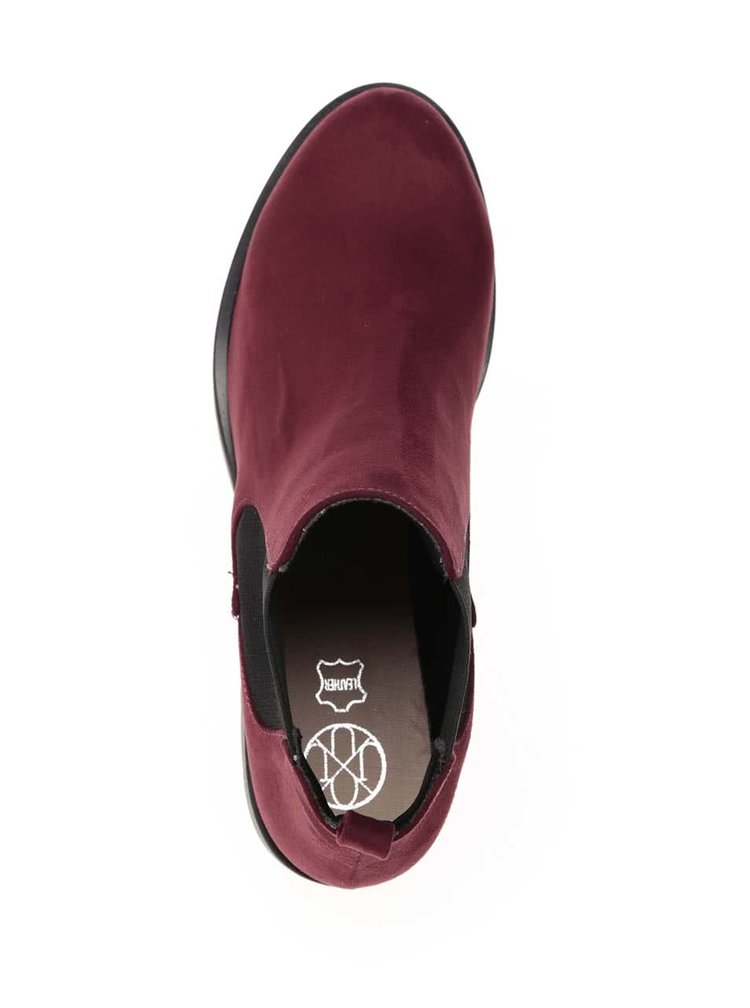 Vínové chelsea boty v semišové úpravě OJJU