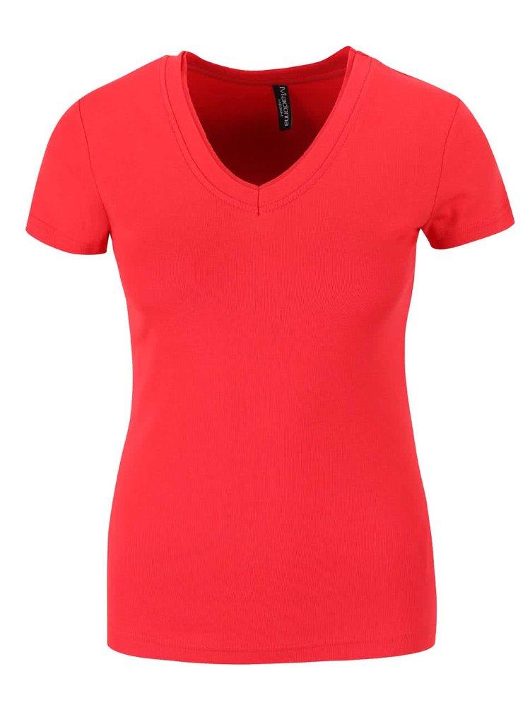 Červené tričko s véčkovým výstřihem Madonna