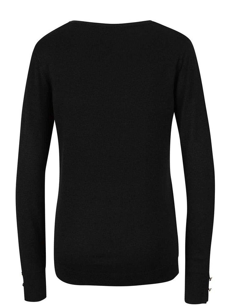 Čierny sveter s gombíkmi na rukávoch Dorothy Perkins