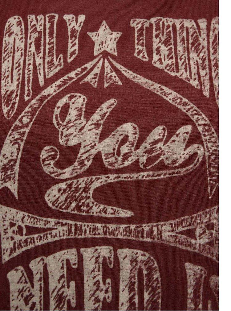 Vínové dámske tričko s krémovým tielkom Cars Naem