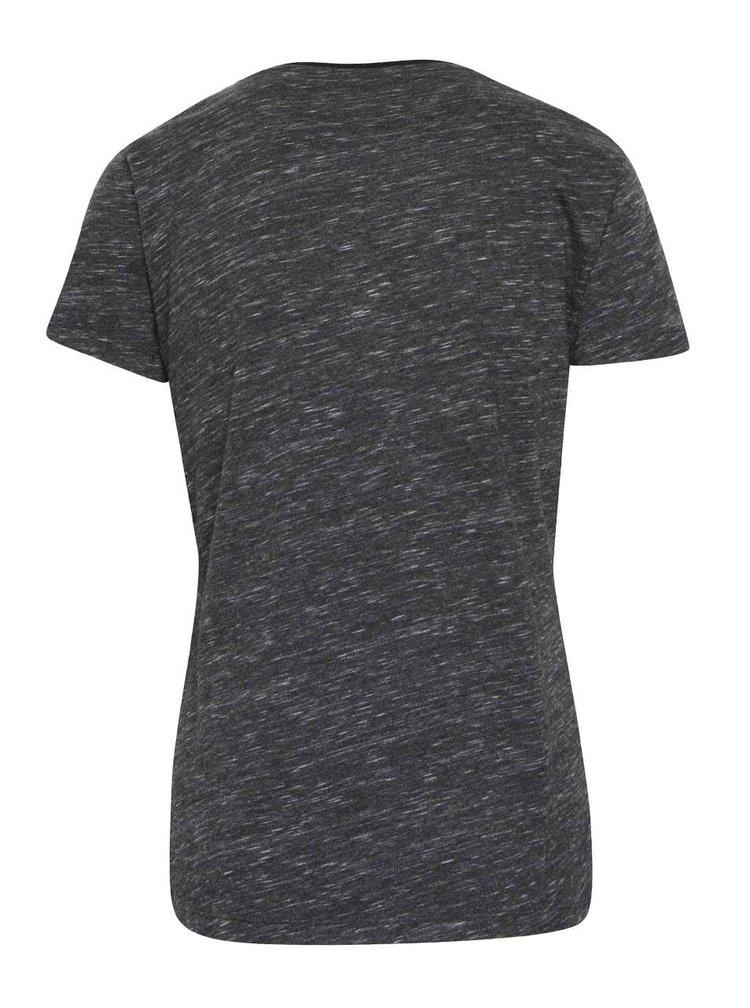 Sivé dámske melírované tričko adidas Originals Trefoil