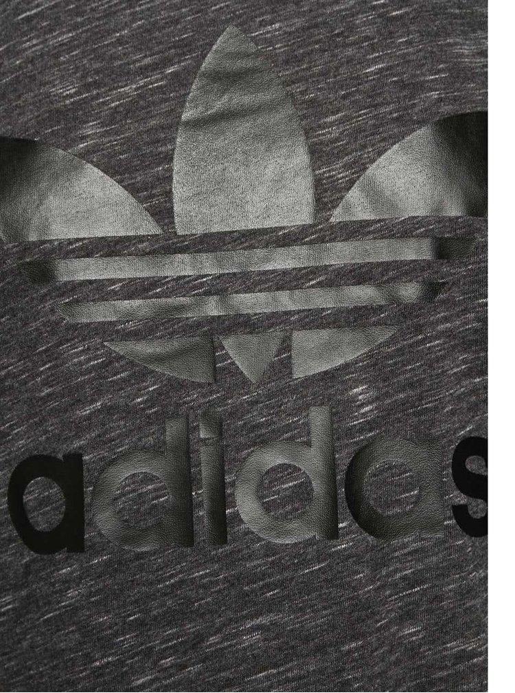 Sivé dámske melírované dlhé tričko adidas Originals Trefoil