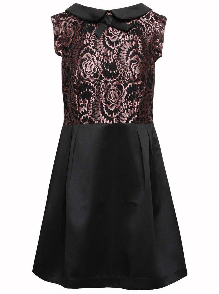 Černé šaty s růžovými krajkovými detaily Wolf & Whistle