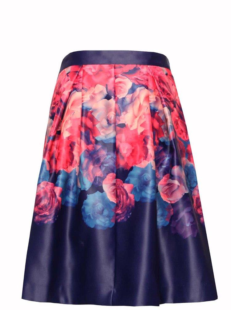 Modro-ružová kvetovaná sukňa Wolf & Whistle
