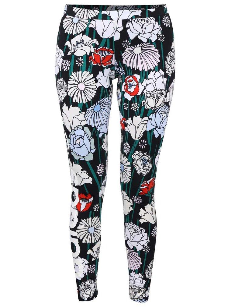 Černé dámské legíny s barevnými květy adidas Originals Linear