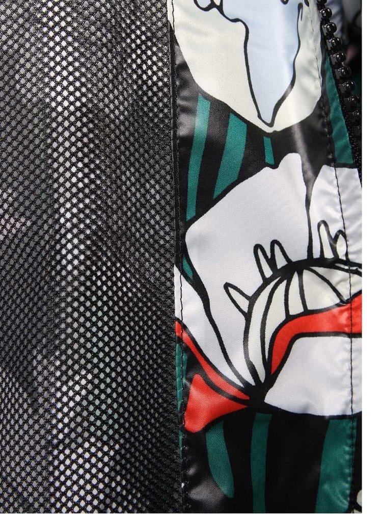 Čierna dámska kvetovaná šuštiaková bunda adidas Originals Windbreaker