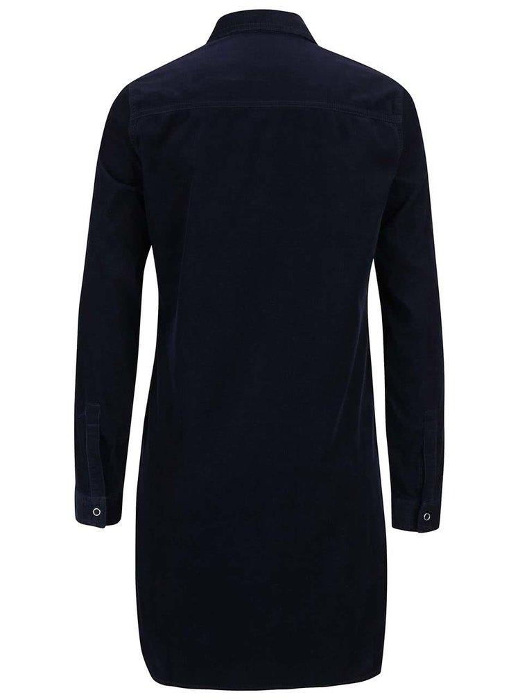 Tmavě modré manšestrové šaty na patentky Dorothy Perkins