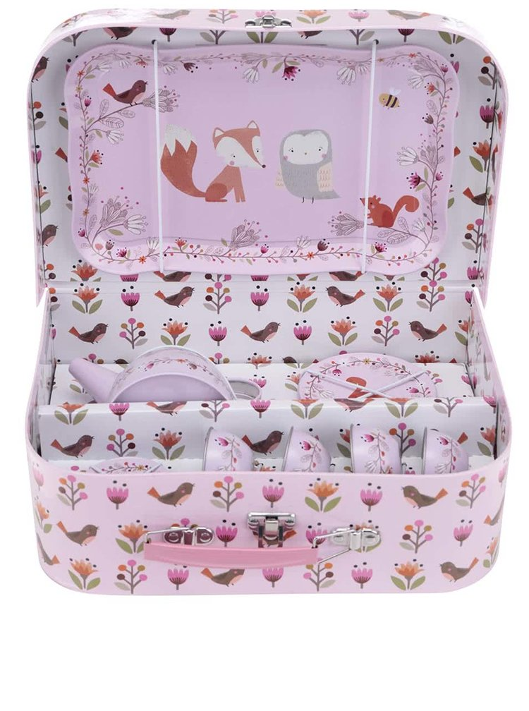 Růžový dětský čajový set s motivem zvířátek Sass & Belle