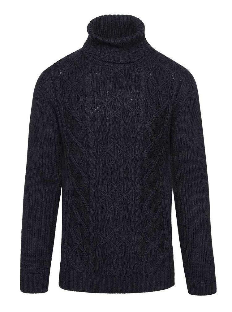 Tmavě modrý svetr s rolákem !Solid Elmer
