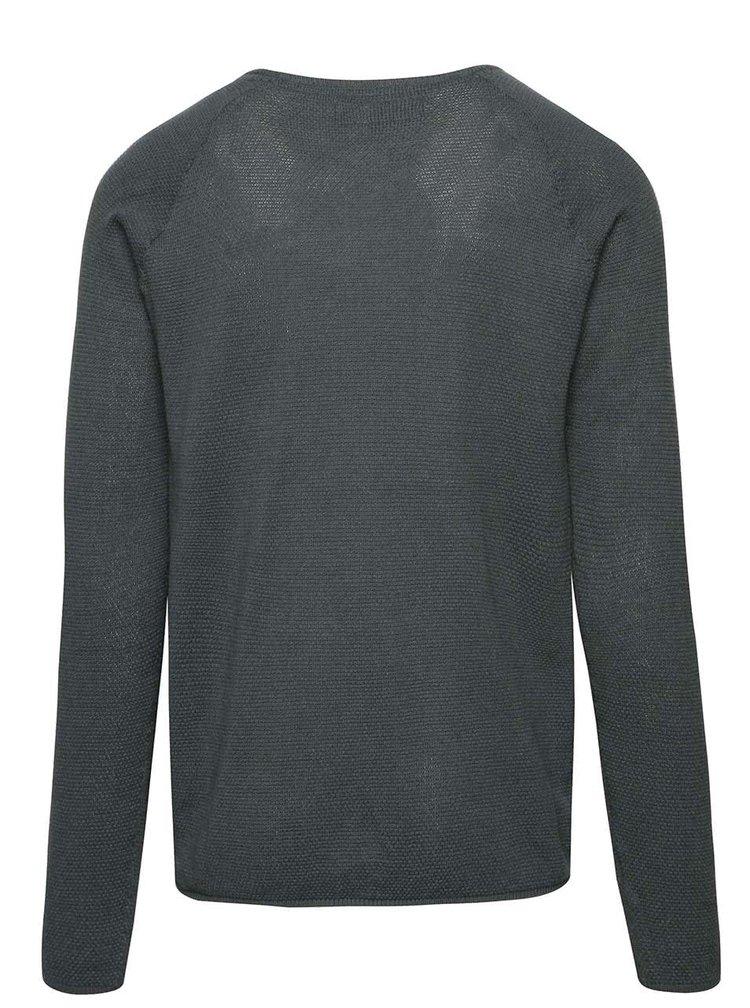 Tmavě zelený lehký svetr s kulatým výstřihem !Solid Errol