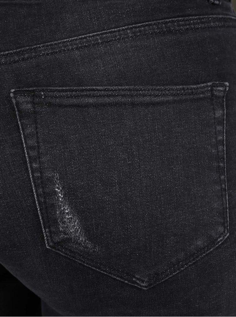 Černé seprané super skinny džíny s odřenými koleny Dorothy Perkins