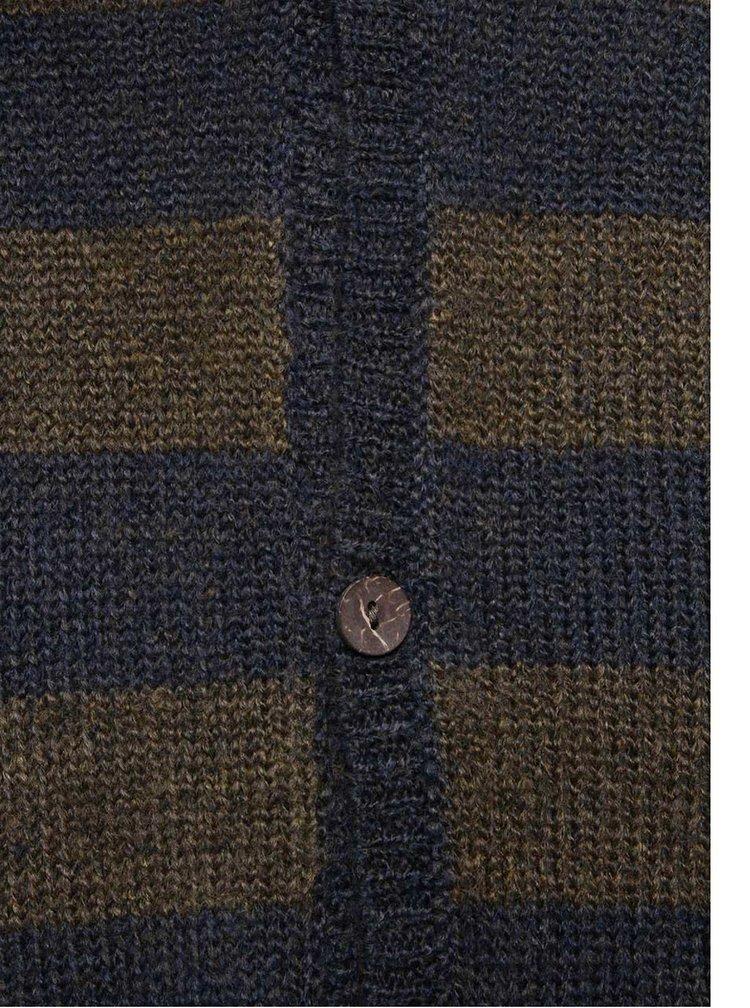 Hnědo-modrý pruhovaný cardigan !Solid Erk