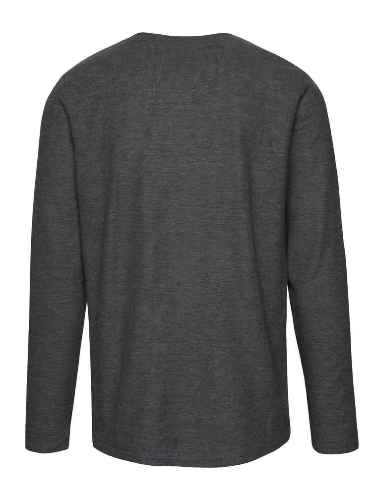 Tmavosivé melírované rebrované tričko s dlhým rukávom !Solid Elert