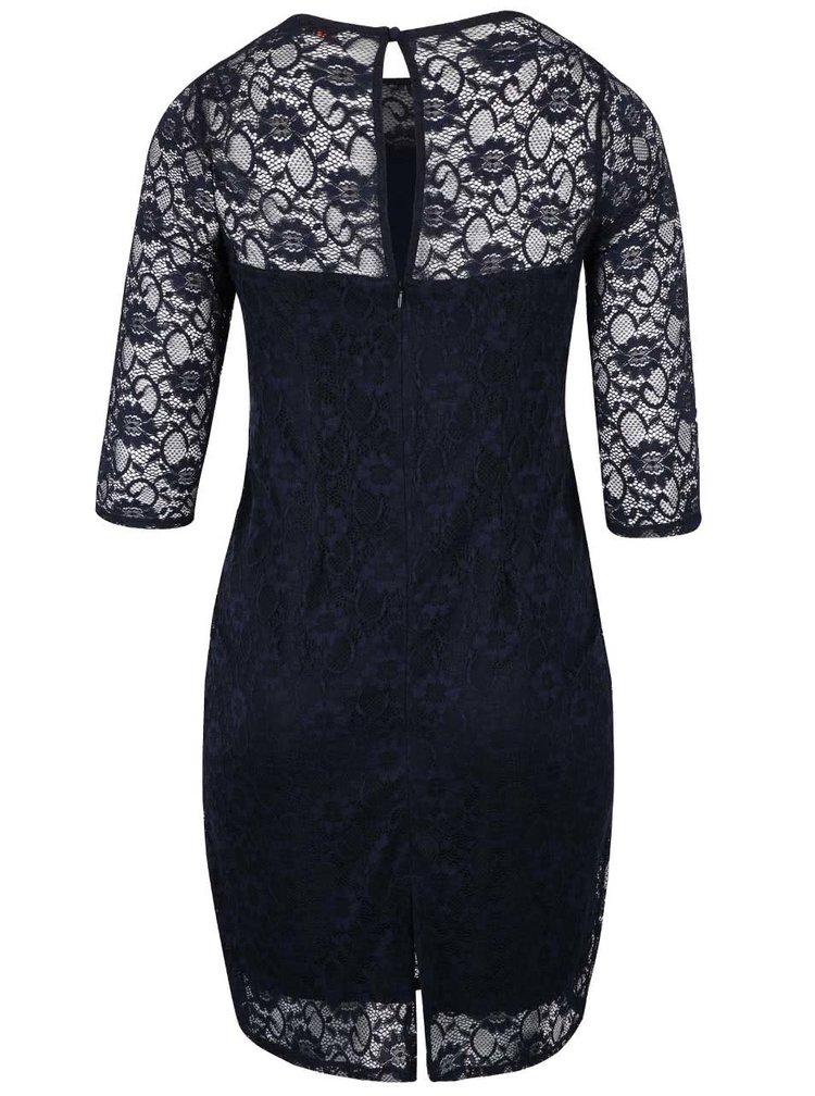 Tmavě modré krajkové šaty s rozparkem Dorothy Perkins Curve