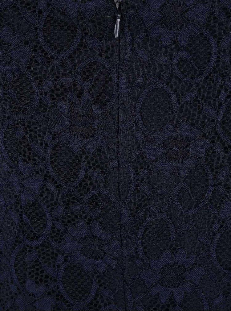 Tmavomodré čipkované šaty s rozparkom Dorothy Perkins Curve