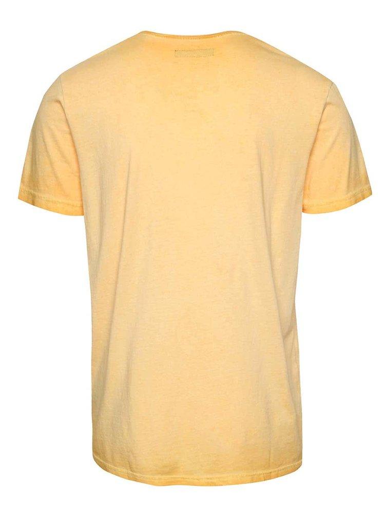 Světle oranžové triko s potiskem !Solid Elit