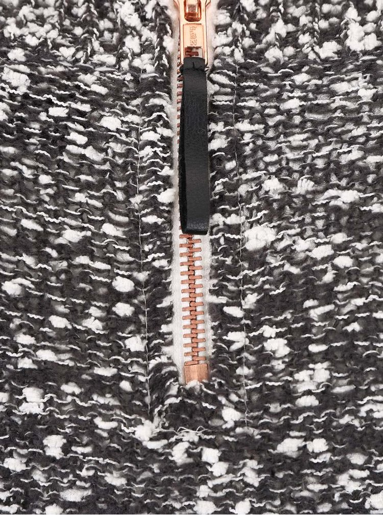 Tmavě šedý žíhaný svetr se zipem na zádech VILA