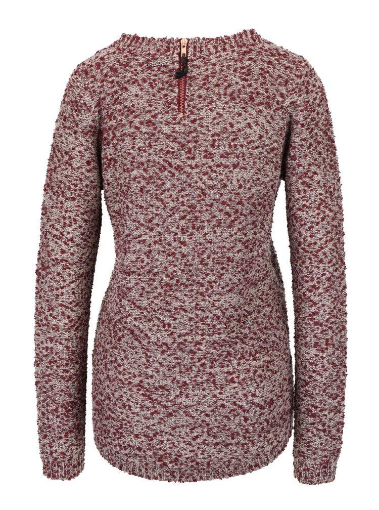 Šedo-vínový žíhaný svetr se zipem na zádech  VILA
