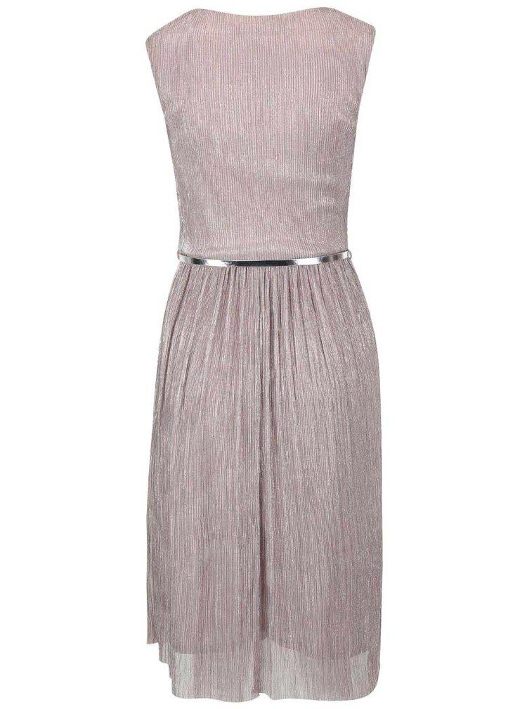 Ružovo-sivé lesklé plisované šaty s opaskom Dorothy Perkins