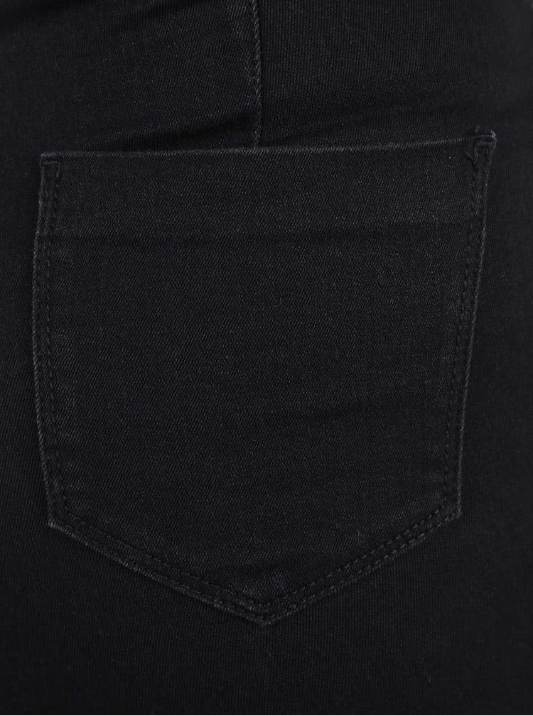Černé elastické skinny džíny s postranním zipem Dorothy Perkins