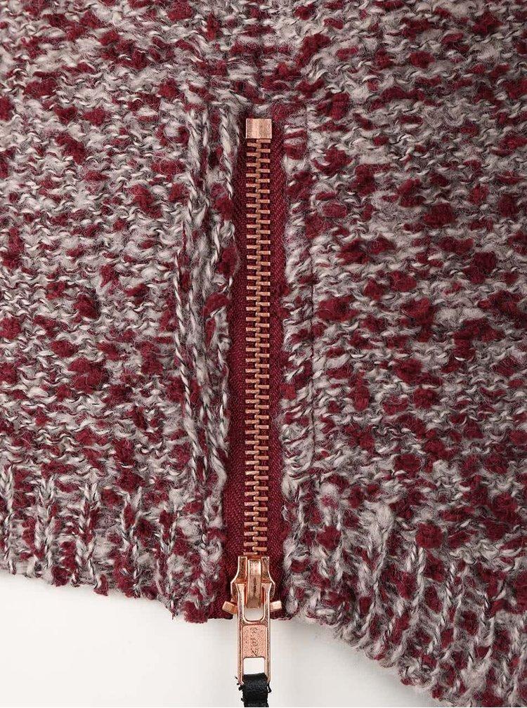 Šedo-žíhaný kardigan se zipy po stranách VILA