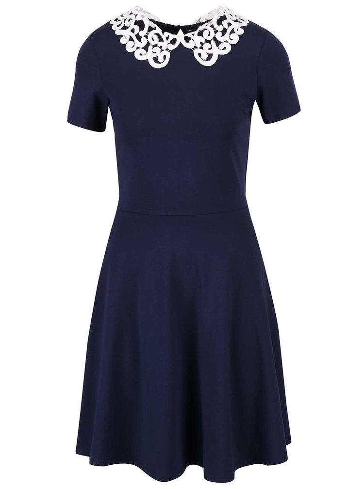 Tmavě modré šaty s bílým krajkovým límečkem Dorothy Perkins