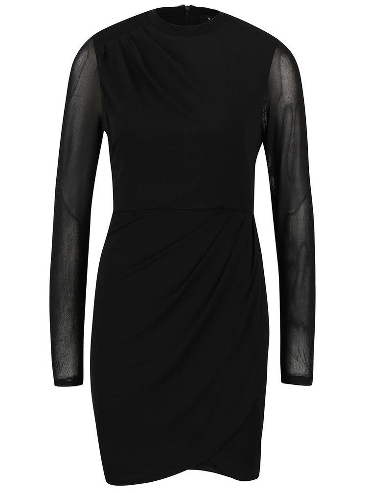 Rochie neagra VILA cu maneci transparente