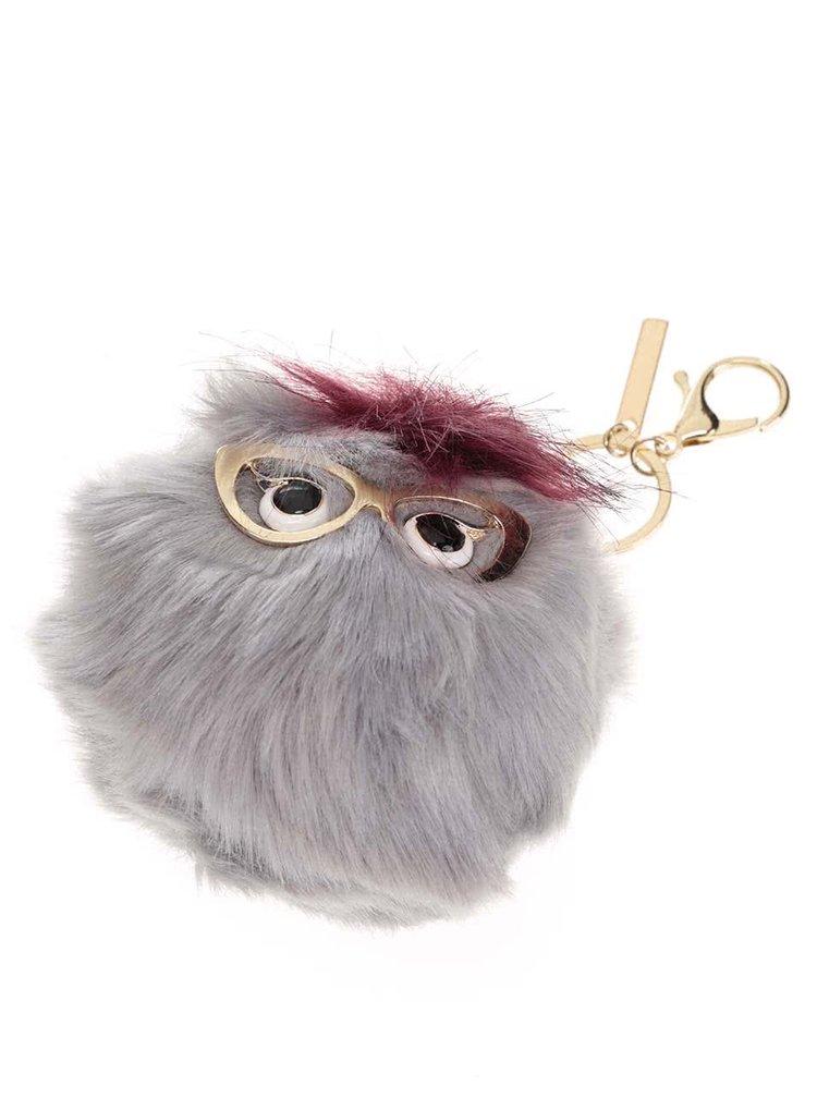 Šedá klíčenka ve tvaru chlupaté koule s brýlemi ALDO Overgard