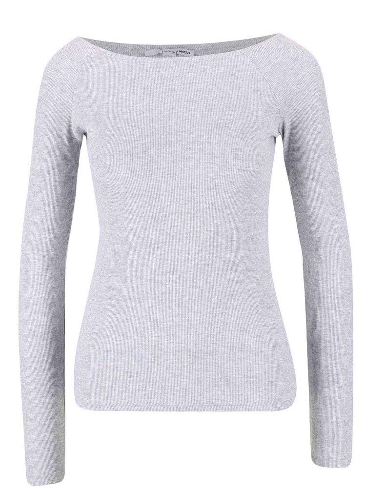 Sivé žíhané rebrované tričko s lodičkovým výstrihom TALLY WEiJL