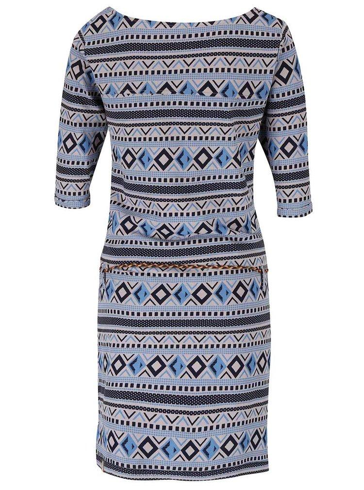 Modro-sivé vzorované šaty s opaskom Ragwear Tanya Inka