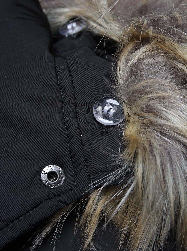 Čierna dámska prešívaná bunda s opaskom Cars Myran