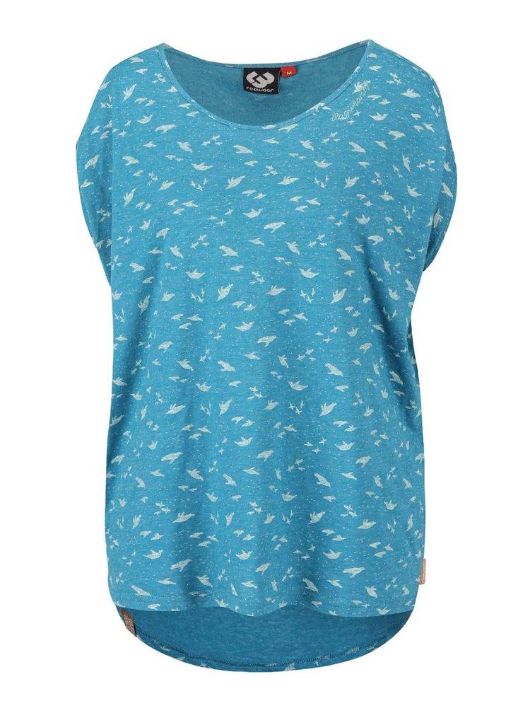 Tyrkysové žíhané dámské oversize tričko s potiskem Ragwear Hipe
