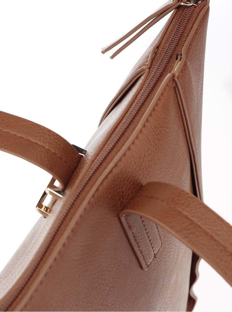 Hnedý shopper so zapínaním na zips Pieces Pichelle