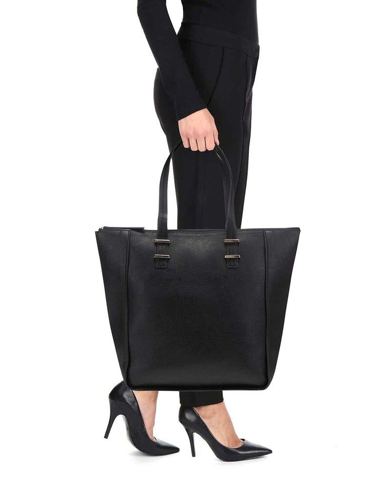 Černý shopper se zapínáním na zip Pieces Pichelle