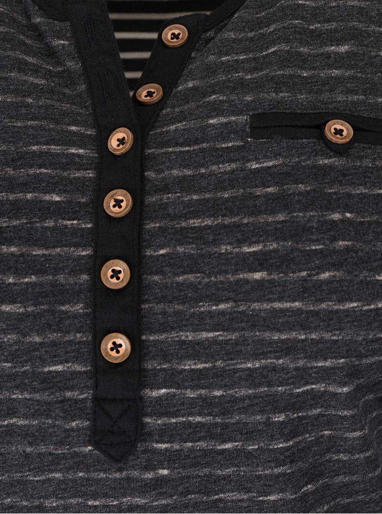 Šedé dámské žíhané pruhované tričko s knoflíky Ragwear Blaze