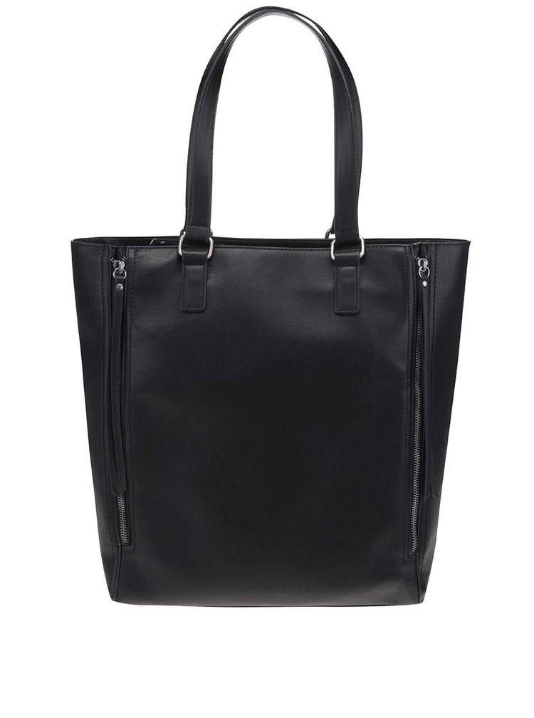 Čierne shopper so zipsmi Pieces Peyton