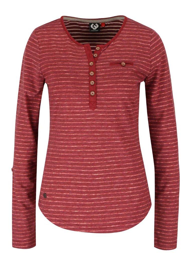 Vínové dámské žíhané pruhované tričko s knoflíky Ragwear Blaze