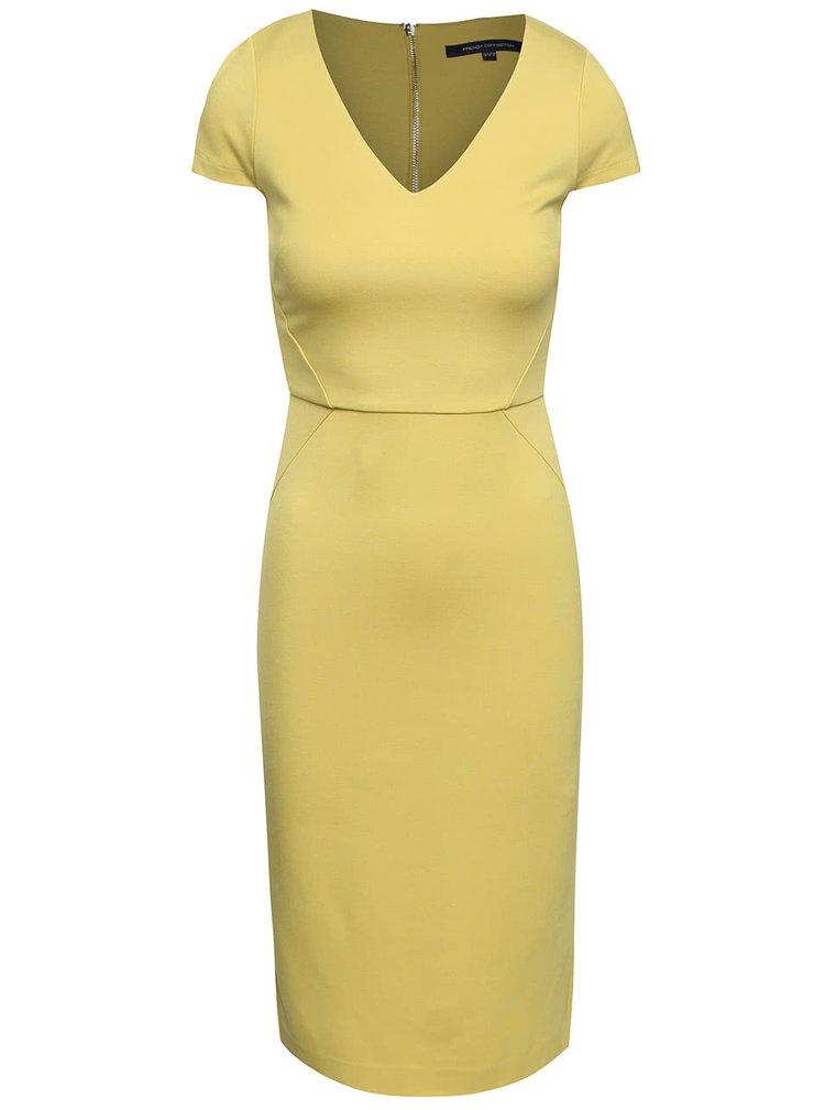 Žluté šaty s véčkovým výstřihem French Connection Lula