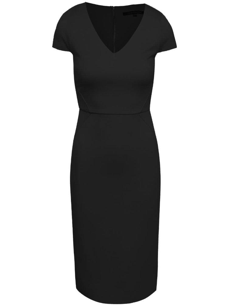 Černé šaty s véčkovým výstřihem French Connection Lula