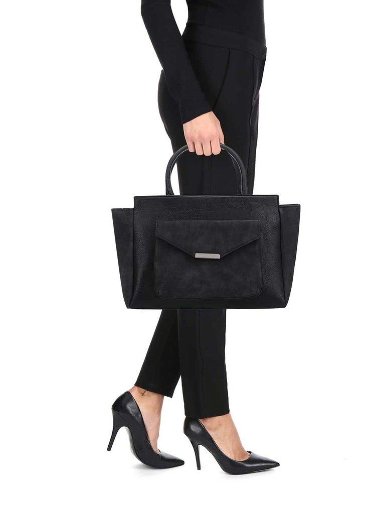 Černá kabelka do ruky se semišovými detaily Pieces Paura