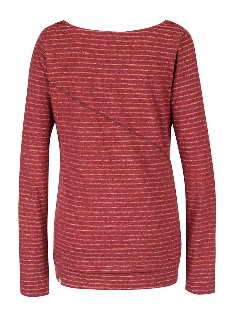 Červené dámske pruhované tričko s dlhým rukávom Ragwear Yolanda